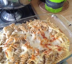 Baked pasta with mix of leftover cheeses